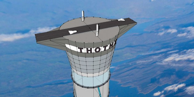 A CAD rendering of the ThothX Tower and platform. PHOTO: THOTH