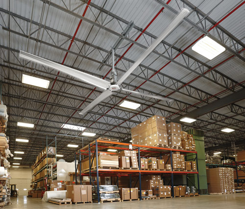 HVLS fans gently move warm air from the ceiling toward the floor. PHOTO: RITE-HITE