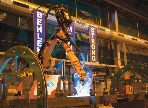 Behlen's robotic welder in action, improving quality and boosting capacity. PHOTO: BEHLEN