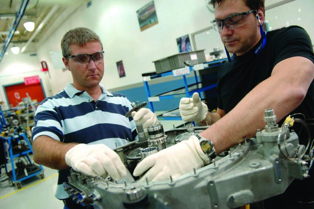 A Pratt & Whitney worker assembling the PW210 helicopter engine in Longeuil, Que. PHOTO: PRATT & WHITNEY