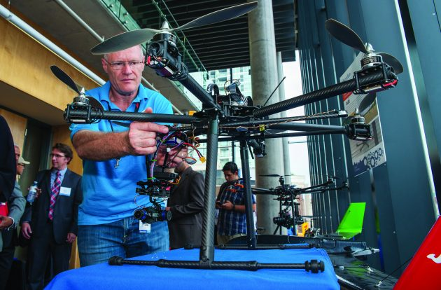 Commercial drone systems made for industrial clients by Sheridan CAMDT were showcased at the Mayor's Innovation Roundtable. PHOTO: MAKERSPACE